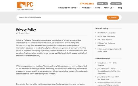 Screenshot of Privacy Page ipcinc.com - Privacy Policy - Industrial Packaging CorporationIndustrial Packaging Corporation - captured Nov. 26, 2016