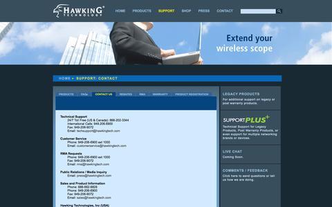 Screenshot of Contact Page hawkingtech.com - Hawking Technology: High Performance Wireless Technology - captured Sept. 23, 2014