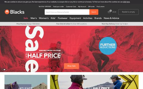 Screenshot of Home Page blacks.co.uk - Blacks - Outdoor Clothing, Waterproof Jackets, Camping, Tents, Sleeping Bags & Walking Boots | The North Face & Berghaus - Blacks - captured July 15, 2018