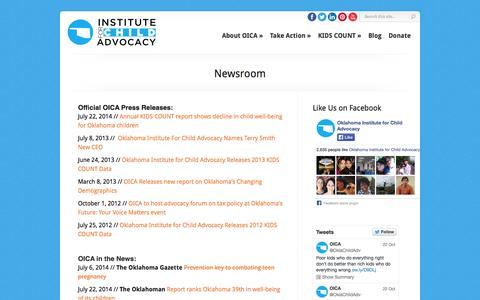 Screenshot of Press Page oica.org - Newsroom - OICA - Oklahoma Institute for Children Advocacy | OICA - Oklahoma Institute for Children Advocacy - captured Oct. 26, 2014