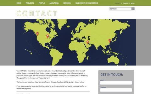 Screenshot of Contact Page mka.com - Magnusson Klemencic Associates | Contact - captured Oct. 4, 2014