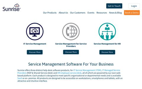 Screenshot of Products Page sunrisesoftware.com - Service Management Products at Sunrise Software - captured Oct. 13, 2018
