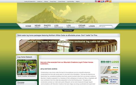 Screenshot of Testimonials Page mountaincreations.com - Log Home Testimonials - Mountain Creations Log Homes - captured Oct. 26, 2014