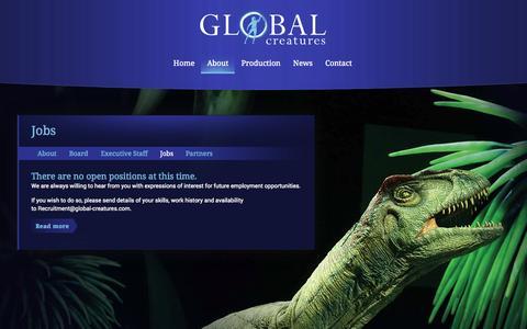 Screenshot of Jobs Page global-creatures.com - Global Creatures - Jobs - captured Sept. 30, 2014