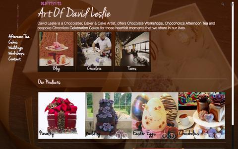 Screenshot of About Page davidleslie.com - David Leslie Chocolate Cakes, Truffles and Workshops - captured Oct. 6, 2014