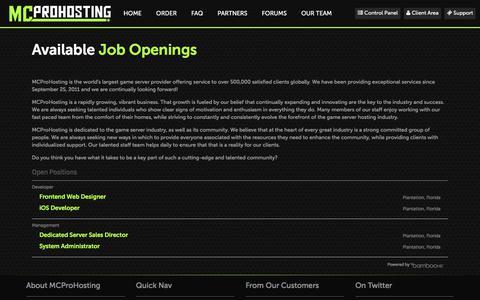 Screenshot of Jobs Page mcprohosting.com - Game Server Hosting | MCProHosting                     |              Positions - captured Aug. 31, 2018