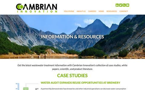 Screenshot of Case Studies Page cambrianinnovation.com - Wastewater Management Information | Cambrian Innovation - captured Sept. 26, 2018