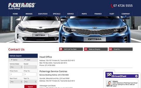 Screenshot of Contact Page pickerings.com.au - Pickerings Auto Group Townsville - Save on new and used cars - Pickerings Auto Group - captured Aug. 2, 2017