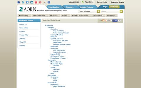 Screenshot of Site Map Page aorn.org - Site Map : Association of periOperative Registered Nurses - captured Sept. 23, 2014