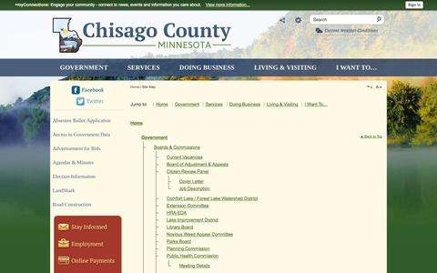 Screenshot of Site Map Page chisagocounty.us - Chisago County, MN - Official Website - captured Sept. 29, 2014
