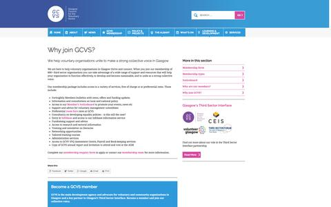 Screenshot of Support Page gcvs.org.uk - Glasgow Council for the Voluntary Sector | Why join GCVS? - captured Nov. 2, 2014