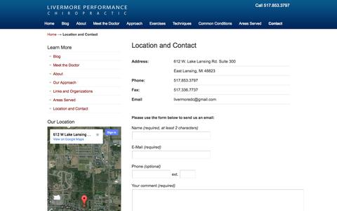 Screenshot of Contact Page Maps & Directions Page livermorepc.com - Livermore Performance Chiropractic located in East Lansing Michigan  | Livermore Performance Chiropractic - captured Oct. 22, 2014