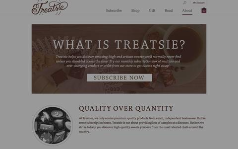 Screenshot of About Page treatsie.com - What is Treatsie? - Treatsie - captured Sept. 17, 2014
