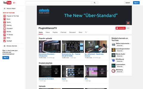 Screenshot of YouTube Page youtube.com - PluginAllianceTV  - YouTube - captured Nov. 3, 2014