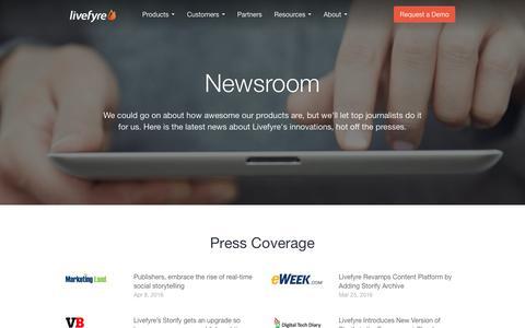 Screenshot of Press Page livefyre.com - Press - Livefyre - captured April 20, 2016