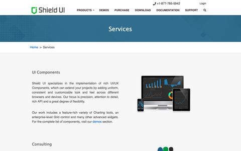 Screenshot of Services Page shieldui.com - Services | Shield UI - captured Feb. 25, 2019