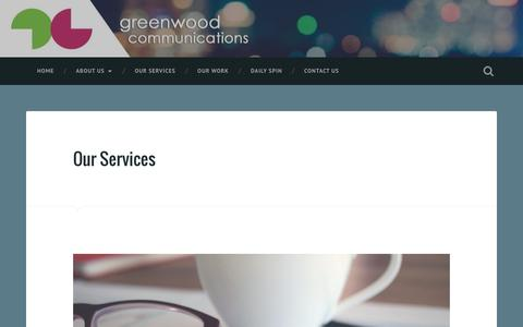 Screenshot of Services Page wordpress.com - Our Services – Greenwood Communications - captured Dec. 31, 2016