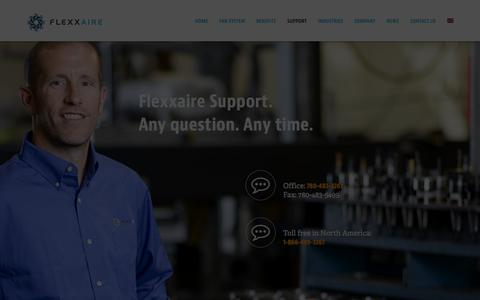Screenshot of Support Page flexxaire.com - Support | Flexxaire | Any Question Any Time - captured Aug. 15, 2018