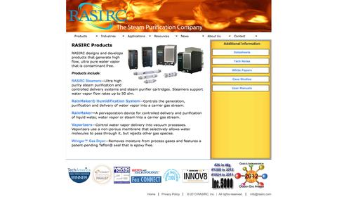 Screenshot of Products Page rasirc.com - Ultra Pure Steam Products :: RASIRC - captured Oct. 7, 2014