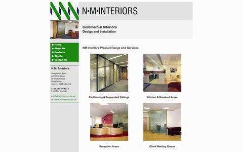 Screenshot of Products Page nminteriors.co.uk - NM Interiors product range and commercial office interior design services - captured Sept. 26, 2014