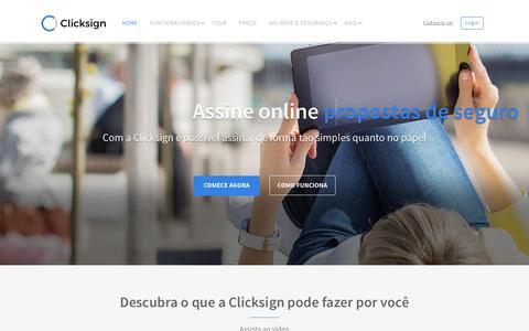 Screenshot of Home Page clicksign.com - Clicksign | Assinatura Eletrônica de Documentos - captured July 13, 2016