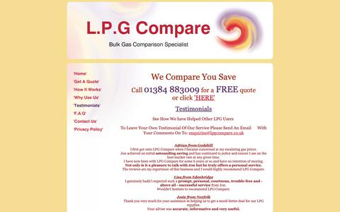 Screenshot of Testimonials Page lpgcompare.co.uk - LPG Compare - 'Testimonials' - captured Nov. 4, 2018