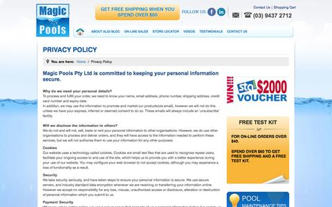 Screenshot of Privacy Page magicpools.com - Privacy Policy - captured Sept. 30, 2014
