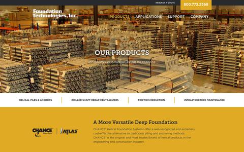 Screenshot of Products Page foundationtechnologies.com - Helical Foundation Products: Repair Products, Tools & Materials - captured Oct. 11, 2018
