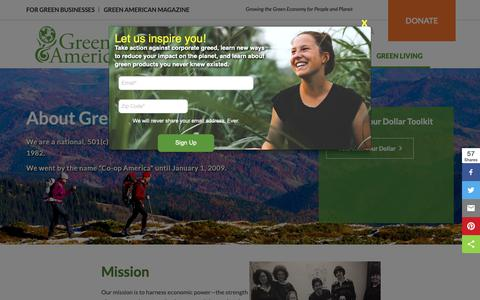 Screenshot of About Page greenamerica.org - About Green America   Green America - captured Nov. 17, 2018
