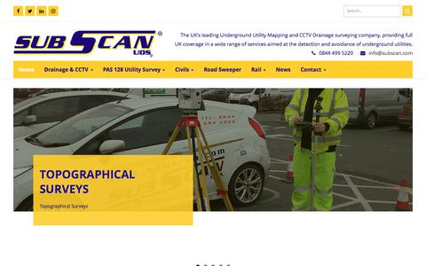 Screenshot of Home Page subscan.com - Subscan UDS - The UK's leading Underground Utility Mapping and CCTV Drainage surveying company, providing full UK coverage in a wide range of services aimed at the detection and avoidance of underground utilities. - captured Oct. 23, 2017