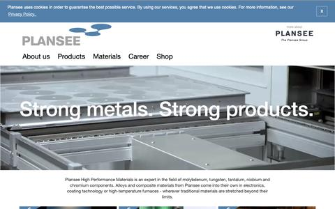 Screenshot of Site Map Page plansee.com - Molybdenum, tungsten, tantalum, niobium, chromium. Strong metals make strong products.   Plansee - captured Dec. 13, 2018