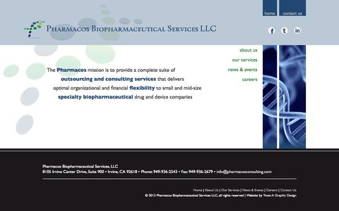 Screenshot of Home Page pharmacosconsulting.com - Pharmacos Biopharmaceutical Services - captured Oct. 2, 2014