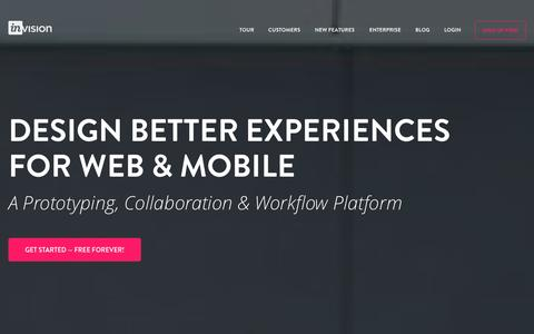 Screenshot of Home Page invisionapp.com - Free Web & Mobile (iOS, Android) Prototyping and UI Mockup Tool   InVision - captured Sept. 16, 2014
