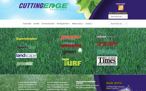 Screenshot of Home Page cuttingedgegrass.com - Cutting Edge Grass Seed | Drought Tolerant & Disease Resistant Grass - captured Oct. 3, 2014