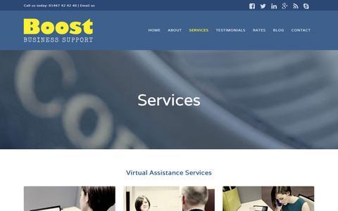 Screenshot of Services Page boostbusinesssupport.com - Our Services - Boost Business Support - captured Jan. 6, 2016