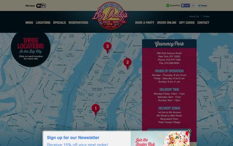 Screenshot of Locations Page bigdaddysnyc.com - Locations - Big Daddy's Restaurant - captured Oct. 5, 2014
