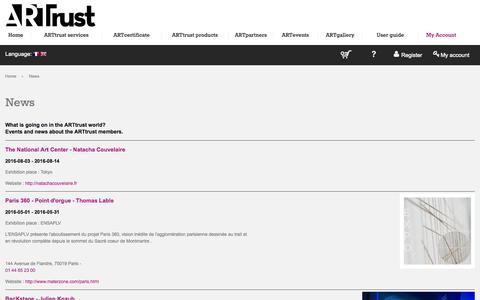 Screenshot of Press Page arttrustonline.com - News - captured Nov. 13, 2015