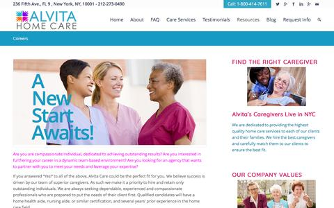 Screenshot of Jobs Page alvitacare.com - Consider a Career With Us! | AlvitaCare NYC - captured May 29, 2017