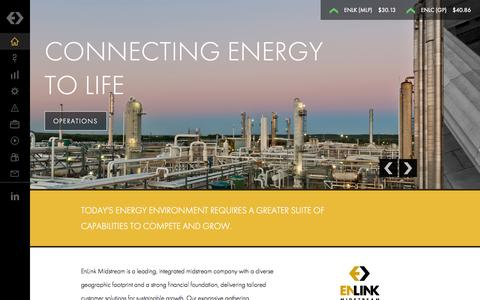 Screenshot of Home Page enlink.com - EnLink Midstream - Connecting Energy to Life - Strong. Innovative. Growing. - captured Oct. 2, 2014