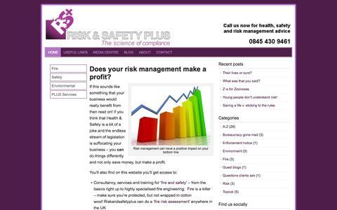 Screenshot of Home Page riskandsafetyplus.com - Does your risk management make a profit? - captured Oct. 6, 2014