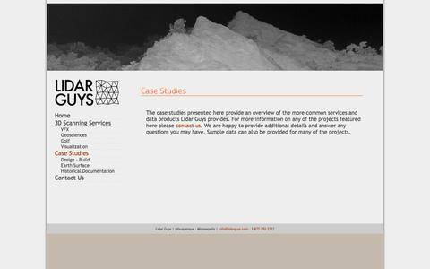 Screenshot of Case Studies Page lidarguys.com - Lidar Guys   » Case Studies - captured Jan. 29, 2016