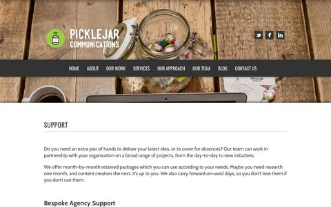 Screenshot of Support Page picklejarcommunications.com - Pickle Jar Communications | Support - Pickle Jar Communications - captured July 5, 2017
