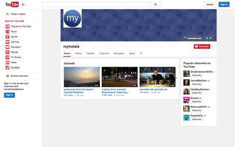 Screenshot of YouTube Page youtube.com - myhotels  - YouTube - captured Oct. 26, 2014