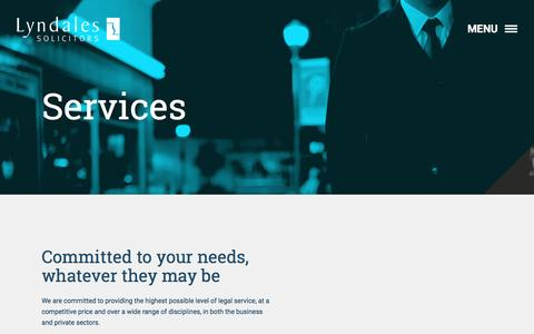 Screenshot of Services Page lyndales.co.uk - Services - Lyndales - captured Nov. 16, 2016
