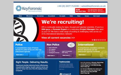 Screenshot of Home Page keyforensic.co.uk - Leading Forensic Science Services   Key Forensic Services - captured Nov. 27, 2016