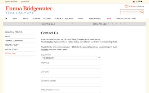 Screenshot of Contact Page emmabridgewater.co.uk - Contact Us at Emma Bridgewater - captured July 13, 2016