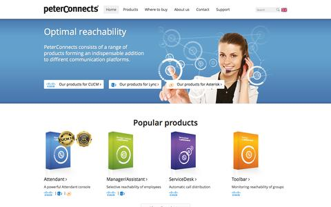 Screenshot of Home Page peterconnects.com - Powerful telephony software with extensive functionality | PeterConnects | Microsoft Lync | Cisco Communications Manager - captured Jan. 28, 2015