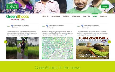 Screenshot of Press Page greenshootsfoundation.org - News – GreenShoots Foundation - captured July 19, 2016