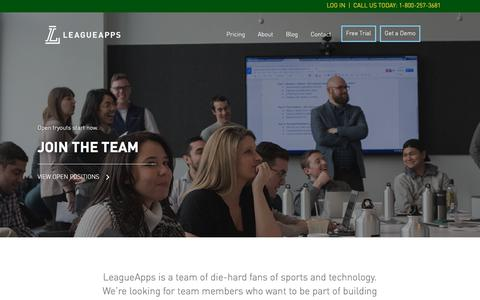 Screenshot of Jobs Page leagueapps.com - LeagueApps Careers - Open tryouts start now. - captured July 17, 2018