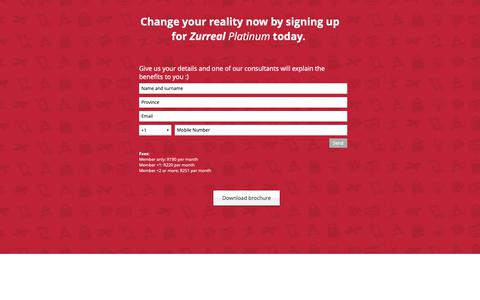 Screenshot of Signup Page zurreal.co.za - zurreal | Sign up for Zurreal Platinum - captured Oct. 18, 2018